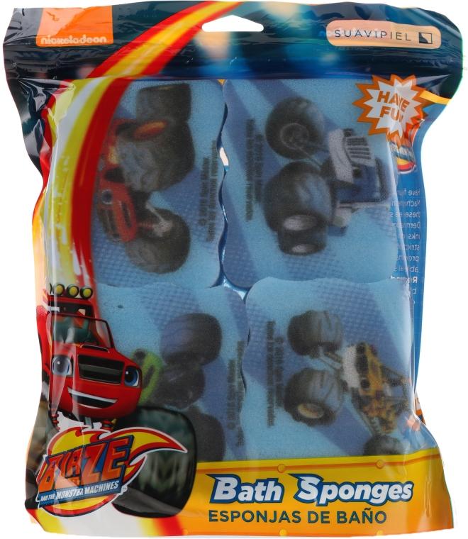 "Set burete de baie ""Flash"" 4 bucăți, albastru deschis - Suavipiel Bath Sponges Blaze And The Monster Machines — Imagine N1"