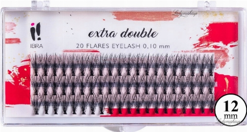 Gene false C 0,1 mm, 12 mm - Ibra Extra Double 20 Flares Eyelash C 12 mm
