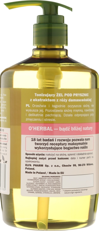 Gel de duș tonifiant cu extract de Trandafir Damasc - O'Herbal Toning Shower Gel — Imagine N2