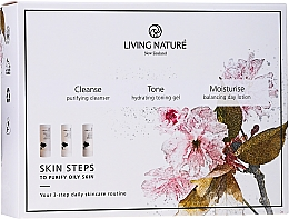 Parfumuri și produse cosmetice Set - Living Nature Skin Steps To Purify Oily Skin (f/cleanser/50ml + gel/50ml + lot/50ml)