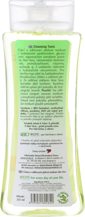 Tonic demachiant - Bione Cosmetics Aloe Vera Soothing Cleansing Make-up Removal Facial Tonic — Imagine N2