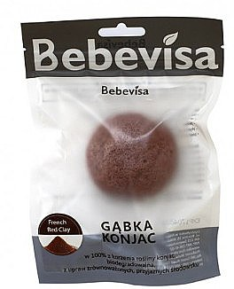 """Burete pentru curățarea feței """"Argilă roșie"""" - Bebevisa Konjac Sponge — Imagine N1"""