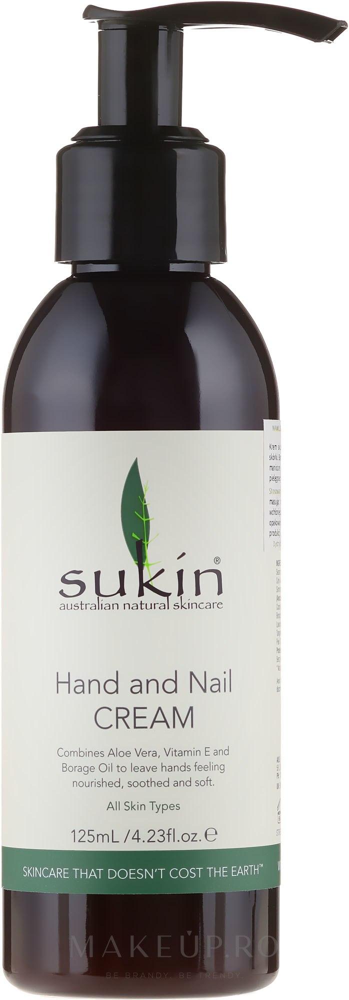 Cremă pentru mâini și unghii - Sukin Hand & Nail Cream Pump — Imagine 125 ml
