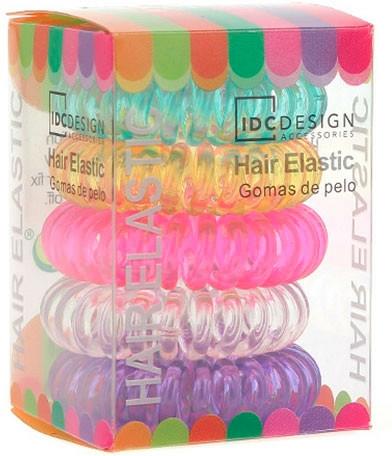Set elastice multicolore pentru păr, silicon, 5 buc - IDC Institute Design Hair Bands Pack — Imagine N1