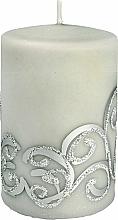 Parfumuri și produse cosmetice Lumânare decorativă, gri cu decorații, 7x10 cm - Artman Christmas Ornament
