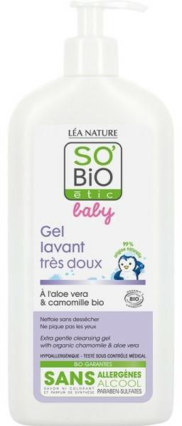 Gel de duș, pentru copii - So'Bio Etic Bebe Gel Lavant Aloe — Imagine N1