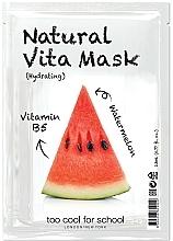 """Parfumuri și produse cosmetice Mască hiratantă din țesătură cu vitamina B5 pentru față """"Pepene verde"""" - Too Cool For School Natural Vita Mask Hydrating"""