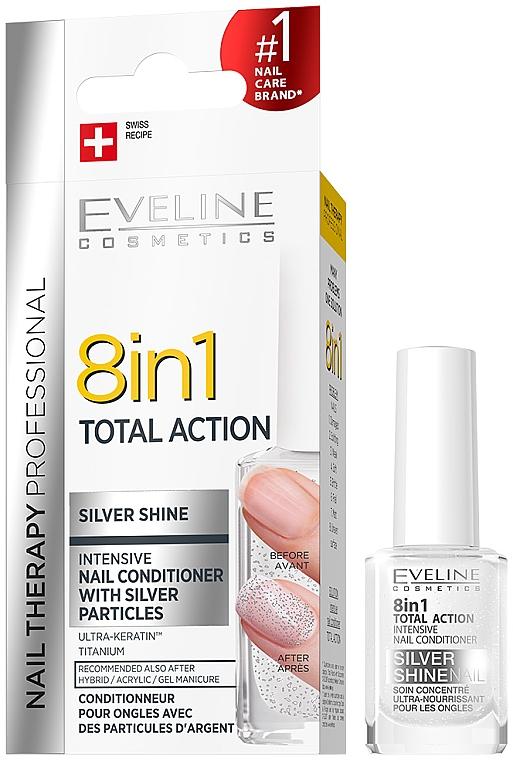 Întăritor pentru unghii 8 în 1 - Eveline Cosmetics 8in1 Silver Shine Nail Therapy