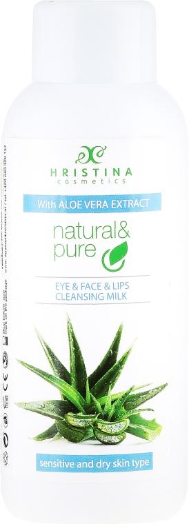 """Lapte demachiant """"Aloe"""" pentru piele uscată și sensibilă - Hristina Cosmetics Cleansing Milk With Aloe Vera Extract"""