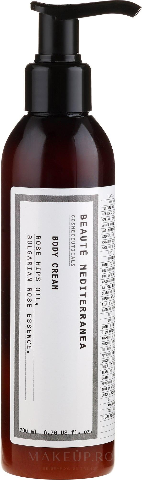 Cremă cu ulei de măceș și esență de trandafir bulgar pentru corp - Beaute Mediterranea Rose Hip Oil With Bulgarian Rose Essence — Imagine 200 ml
