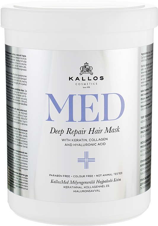 Mască pentru hidratare profundă - Kallos Cosmetics MED Deep Repair Hair Mask — Imagine N1