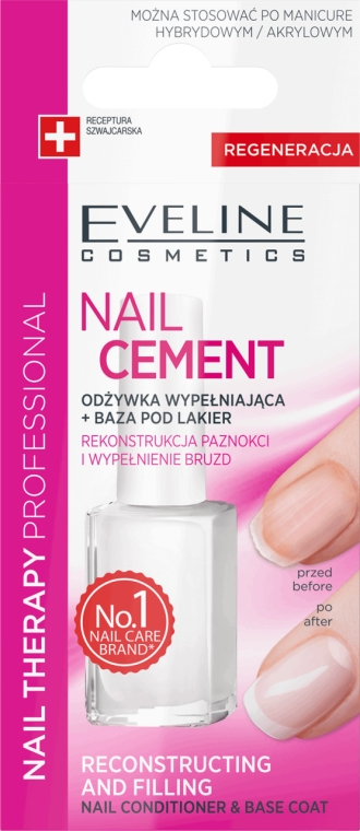 Balsam-bază pentru unghii - Eveline Cosmetics Nail Cement Conditioner & Base Coat