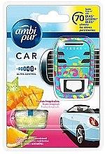 """Parfumuri și produse cosmetice Set odorizant pentru mașină """"Fructe tropicale"""" - Ambi Pur (freshener/1szt+refill/7ml)"""