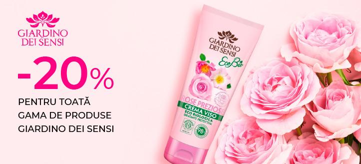 Reducere 20% pentru toată gama de produse Giardino Dei Sensi. Prețurile sunt indicate pe site cu reducerea inclusă