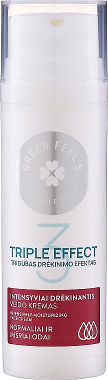 Cremă intens hidratantă cu extract de castraveți și aloe pentru ten normal și combinat - Green Feel's Triple Effect Intensively Moisturizing Face Cream