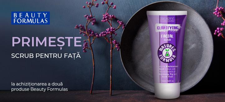 La achiziționarea a două produse Beauty Formulas primești cadou scrub pentru față