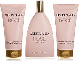 Parfumuri și produse cosmetice Instituto Español Aire de Sevilla Rose - Set (edt/150ml + b/milk/150ml + sh/cr/150ml)