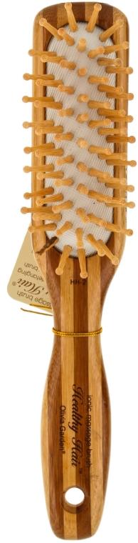 Perie de bambus pentru păr - Olivia Garden Healthy Hair Small Rect Ionic Massage Brush — Imagine N1