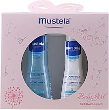 Parfumuri și produse cosmetice Set - Mustela Baby Girl Bavaglino Set Pink (gel/200ml + water/300ml + bib)