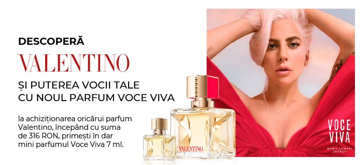 La achiziționarea oricărui parfum Valentino, începând cu suma de 316 RON, primești în dar mini parfumul Voce Viva