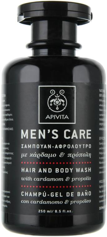 Soluție de spălare cu cardamom și propolis pentru păr și corp - Apivita Men Men's Care Hair and Body Wash With Cardamom & Propolis — Imagine N1