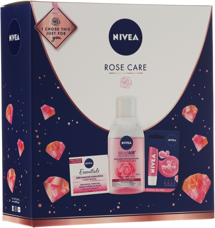 Set - Nivea Rose Care (lip/balm/5.5ml + cr/50ml + micellar/water/200)
