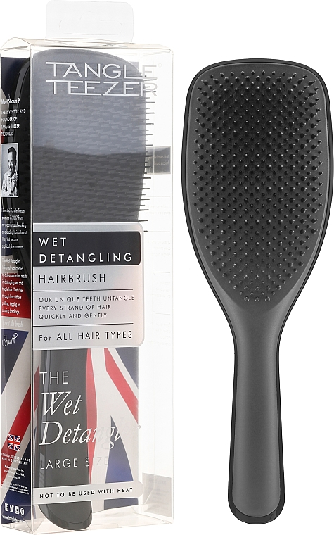 Perie de păr, negru - Tangle Teezer The Wet Detangler Black Gloss Large Size Hairbrush
