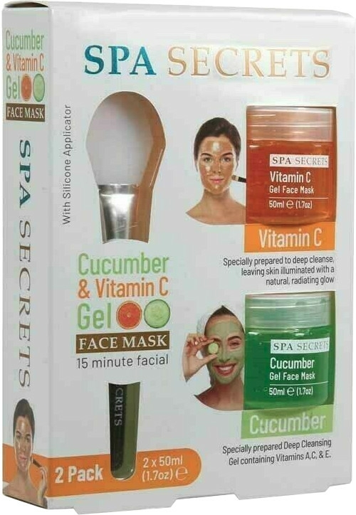 Set - Spa Secrets Cucumber & Vitamin C Gel Face Mask (mask/60ml + mask/60ml + brush/mask/1pcs)