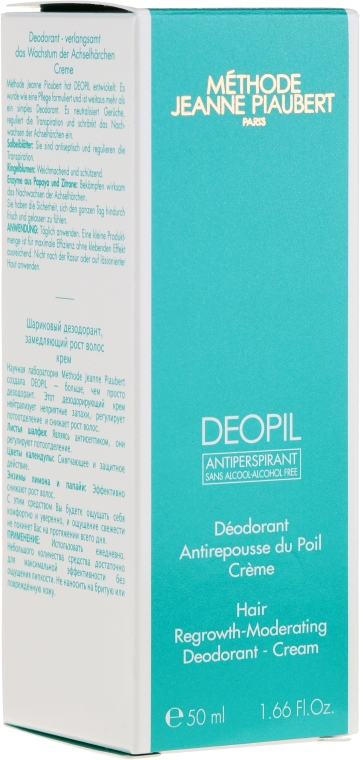 Cremă dezodorizantă,pentru creșterea lentă a părului - Methode Jeanne Piaubert Deopil Creme Alcohol-Free Antiperspirant — Imagine N1
