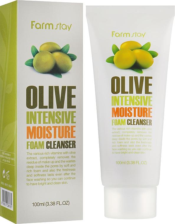 Spumă hidratantă de curățare cu extract de măsline - FarmStay Olive Intensive Moisture Foam Cleanser