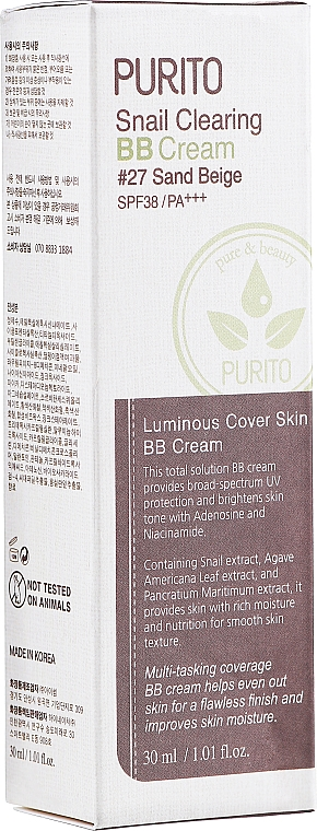 BB cream cu mucină de melc - Purito Snail Clearing BB Cream SPF38/PA+++ — Imagine N2