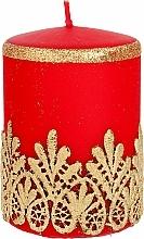 Parfumuri și produse cosmetice Lumânare decorativă, dantelă, roșie, 7x10 cm - Artman Lace Christmas