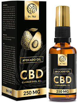 Ulei natural de avocado CBD 250mg - Dr. T&J Bio Oil