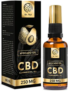 Ulei natural de avocado CBD 250mg - Dr. T&J Bio Oil