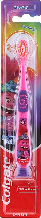 Periuță de dinți, pentru copii, 2-6 ani, roz-violet, Troll - Colgate Smiles Kids Extra Soft — Imagine N1
