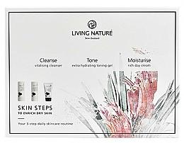 Parfumuri și produse cosmetice Set - Living Nature Skin Steps To Enrich Dry Skin (milk/50ml + gel/50ml + cr/50ml)