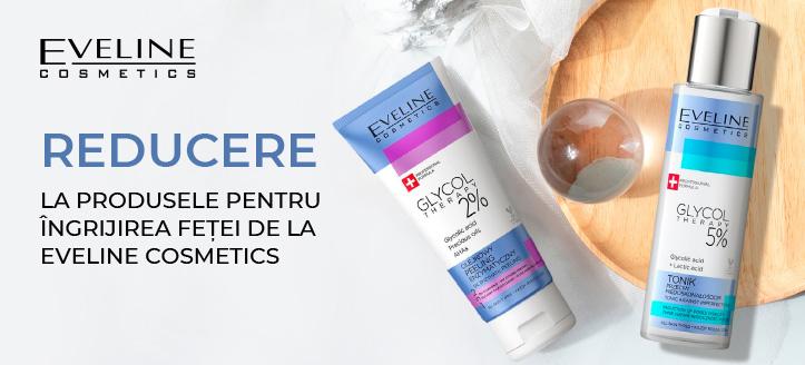 Reducere la produsele pentru îngrijirea feței de la Eveline Cosmetics. Prețurile pe site sunt prezentate cu reduceri