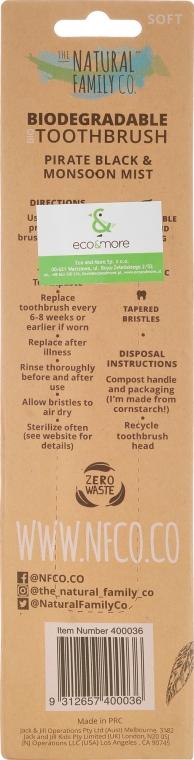Set - The Natural Family Co Bio Brush Pirate Black & Monsoon Mist (toothbrush/1pcs + toothbrush/1pcs) (2 buc.) — Imagine N2