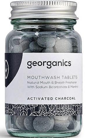 """Tablete de clătire pentru cavitatea bucală """"Carbon activat"""" - Georganics Mouthwash Tablets Activated Charcoal — Imagine N1"""