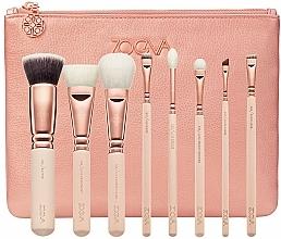 Parfumuri și produse cosmetice Set perii de machiaj, 8 bucăți - Zoeva Rose Golden Luxury Set Vol. 2 (8 brushes + clutch)