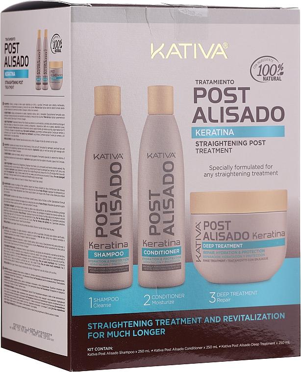 Set - Kativa Straightening Post Treatment Keratin (shm/250ml + cond/250ml + mask/250ml)