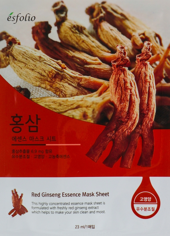 "Mască din țesătură ""Extract de ginseng"" - Esfolio Red Ginseng Essence Mask Sheet"
