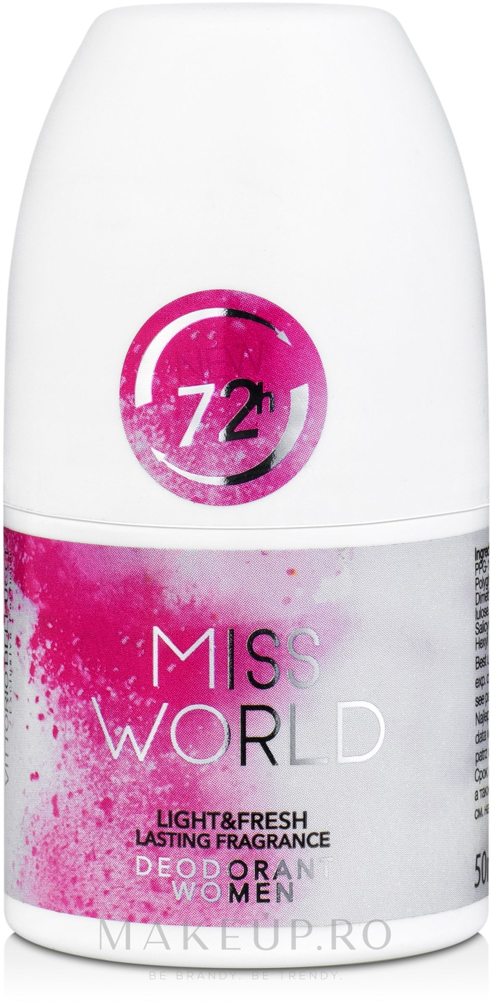 Vittorio Bellucci Miss World - Deodorant parfumat roll-on — Imagine 50 ml