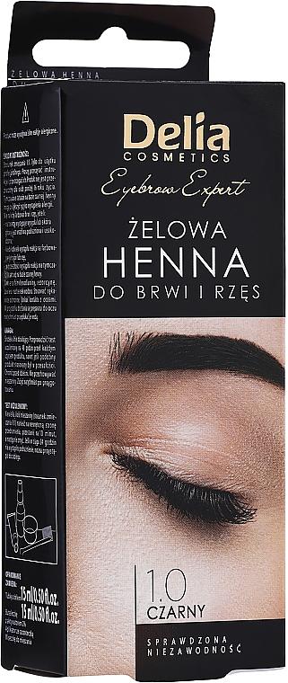 Gel vopsea pentru sprâncene, Black - Delia Eyebrow Tint Gel ProColor 1.0 Black