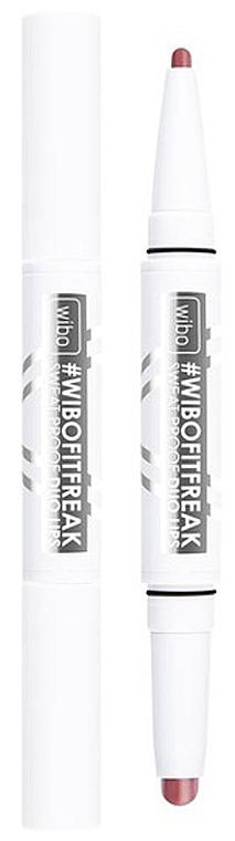 Ruj și creion de ochi 2 în 1, cu finisaj satinat - Wibo FitFreak Sweat Proof Duo Lips (1buc)