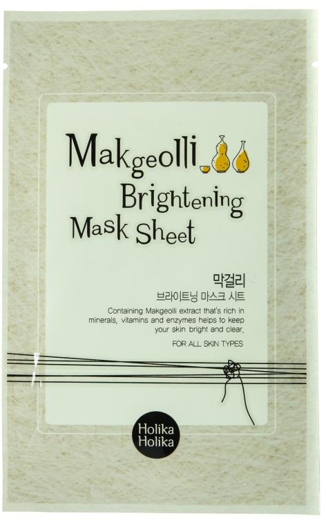 Mască de țesut cu extract de vin din orez - Holika Holika Makgeolli Brightening Mask Sheet