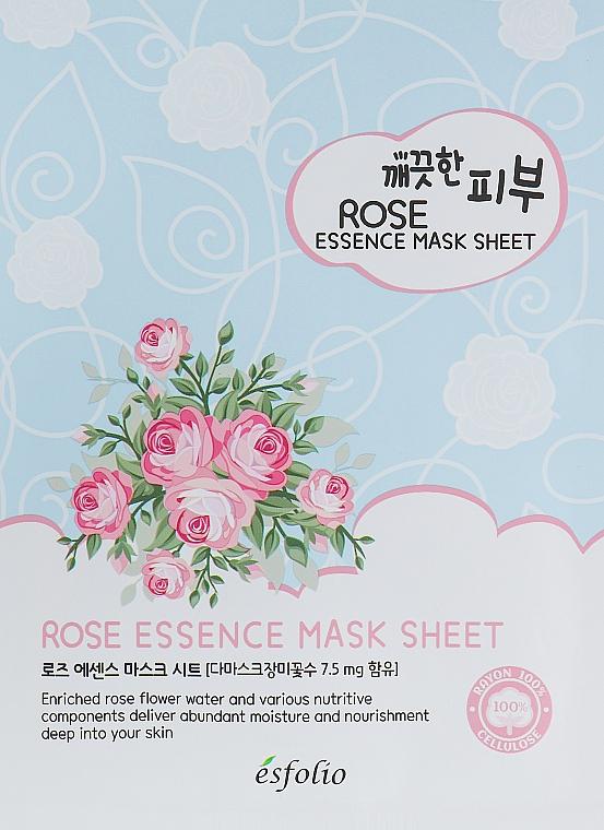 Mască de țesut cu extract de trandafir - Esfolio Pure Skin Essence Rose Mask Sheet
