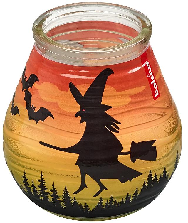 """Lumânare decorativă în suport de sticlă """"Patiolight Bat and Witch"""", 94/91 mm - Bolsius Candle — Imagine N1"""