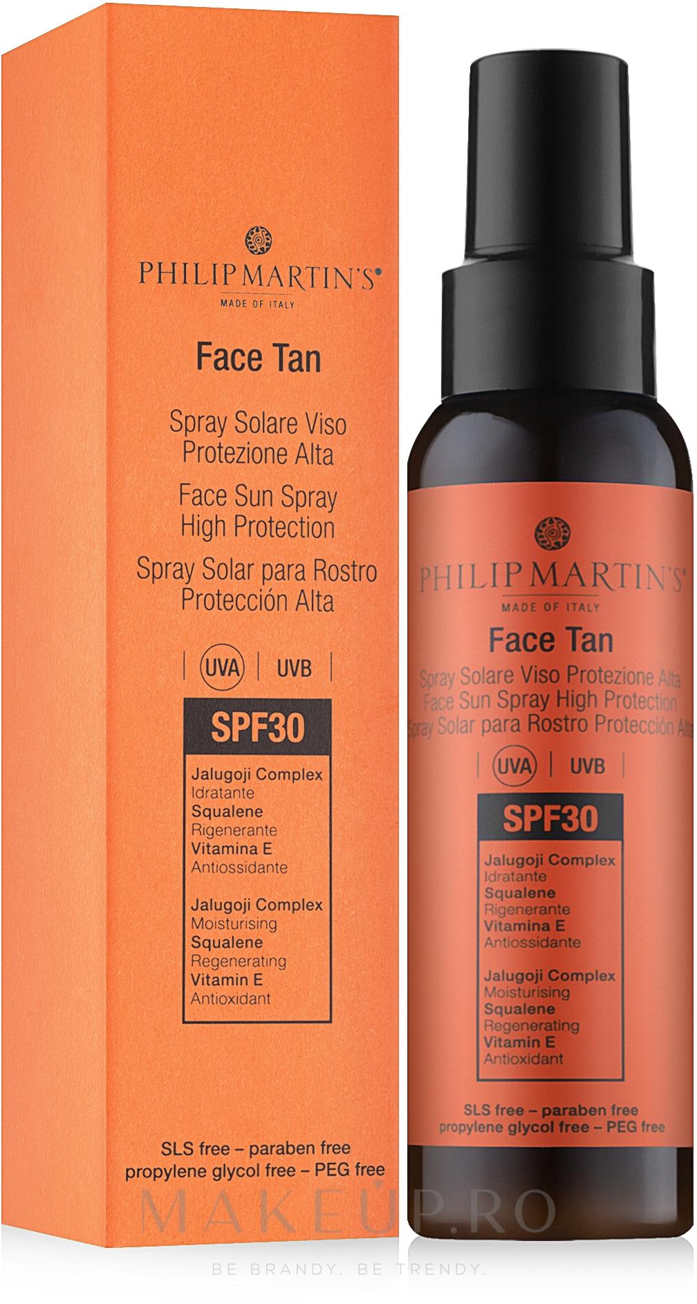 Spray protecție solară pentru față - Philip Martin's Face Tan SPF 30 — Imagine 100 ml