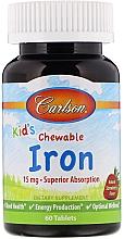Parfumuri și produse cosmetice Comprimate masticabile cu fier pentru copii, aromă naturală de căpșuni - Carlson Labs Kid's Chewable Iron